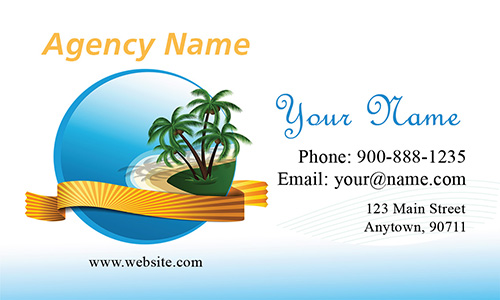 Cheerful Palm Trees Tourism Agent Business Card - Design #901131